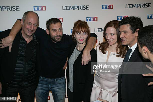 Sam Karmann Fred Testot Lolita Chammah Odile Vuillemin and Marc Lavoine attend the 'L'Emprise' photocall at Cinema Arlequin on January 21 2015 in...