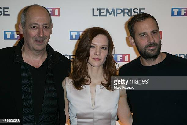 Sam Karmann Odile Vuillemin and Fred Testot attend the 'L'Emprise' photocall at Cinema Arlequin on January 21 2015 in Paris France