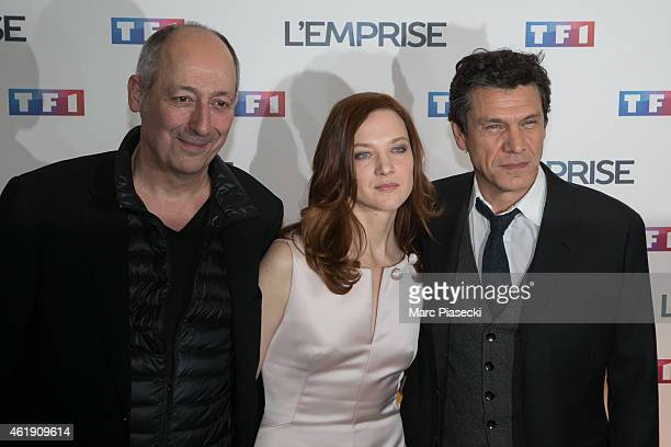 Sam Karmann Odile Vuillemin and Marc Lavoine attend the 'L'Emprise' photocall at Cinema Arlequin on January 21 2015 in Paris France