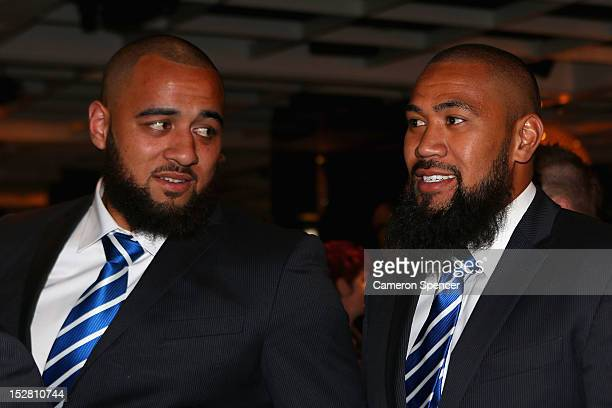 Sam Kasiano and Frank Pritchard of the Bulldogs talk during the 2012 NRL Grand Final breakfast at Doltone House on September 27 2012 in Sydney...