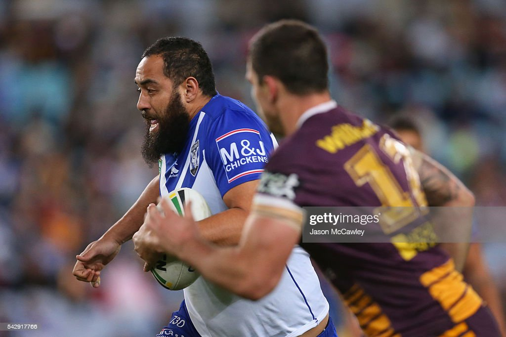 Sam Kasiano of the Bulldogs runs with the ball during the round 16 NRL match between the Canterbury Bulldogs and Brisbane Broncos at ANZ Stadium on June 25, 2016 in Sydney, Australia.