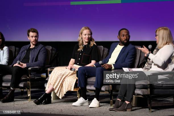 Sam Keeley Beth Riesgraf and Jeremy Tardy attend the SCAD aTVfest 2020 68 Whiskey Press Junket on February 28 2020 in Atlanta Georgia