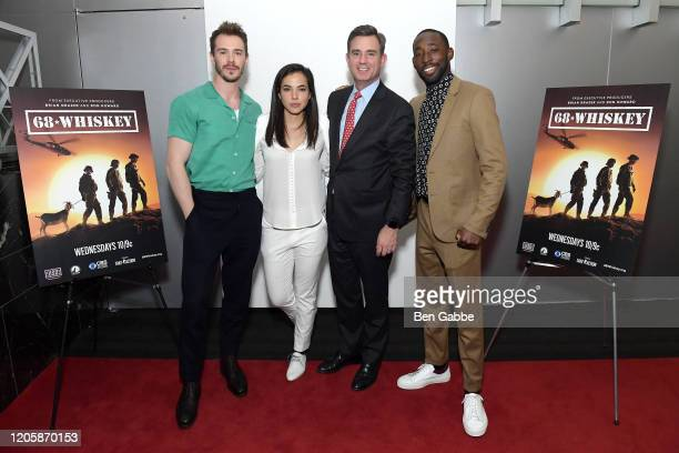 Sam Keeley Cristina Rodlo President CEO of USO New York Brian Whiting and Jeremy Tardy attend the Paramount Network 68 Whiskey USO Screening Event at...