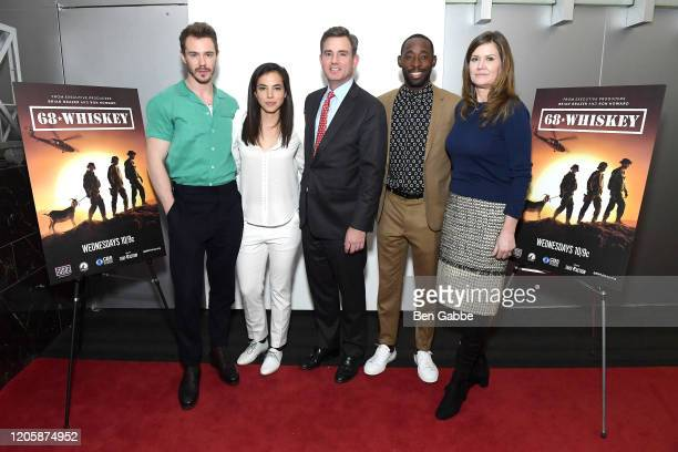 Sam Keeley Cristina Rodlo President CEO of USO New York Brian Whiting Jeremy Tardy and Didi Romley attend the Paramount Network 68 Whiskey USO...