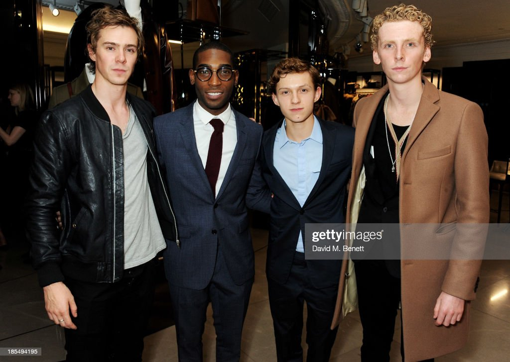 Sam Keeley, Tinie Tempah, Breakthrough Brit Tom Holland and Edward Ashley attend the BAFTA 'Breakthrough Brits' event at Burberry 121 Regent Street, London on October 21, 2013 in London, United Kingdom.