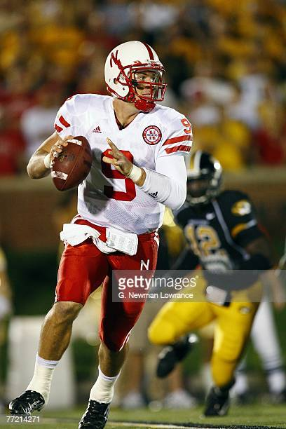 Sam Keller of the Nebraska Cornhuskers rolls out to pass against the Missouri Tigers during 1sthalf action on October 6 2007 at Faurot Field in...
