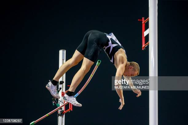 Sam Kendricks competes in the Men's pole vault during the IAAF Diamond League competition on September 25, 2020 at the Suheim Bin Hamad Stadium in...