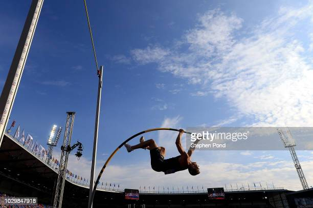 Sam Kendricks of Team Americas competes in the Mens Pole Vault during day two of the IAAF Continental Cup at Mestsky Stadium on September 9, 2018 in...