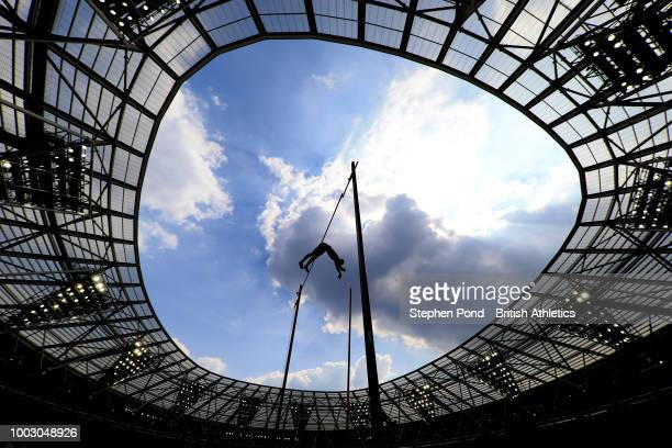 Sam Kendricks of The United States competes in the Men's Pole Vault during Day One of the Muller Anniversary Games at London Stadium on July 21, 2018...