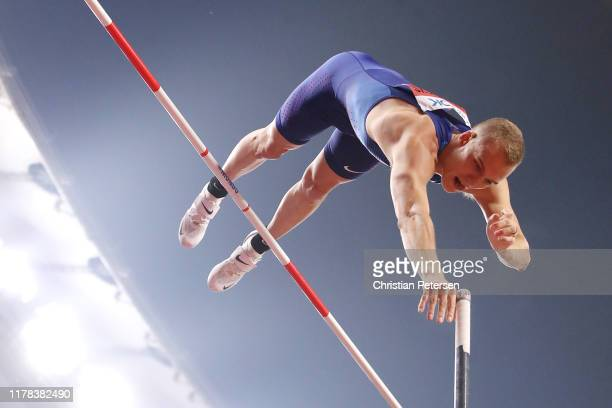 Sam Kendricks of the United States competes in the Men's Pole Vault final during day five of 17th IAAF World Athletics Championships Doha 2019 at...