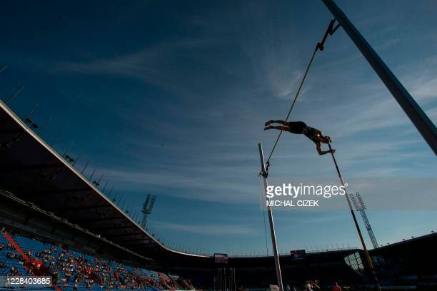 Sam Kendricks of United States competes during the Pole Vault Men competition of IAAF Golden Spike 2020 Athletics meeting in Ostrava, Czech Republic,...