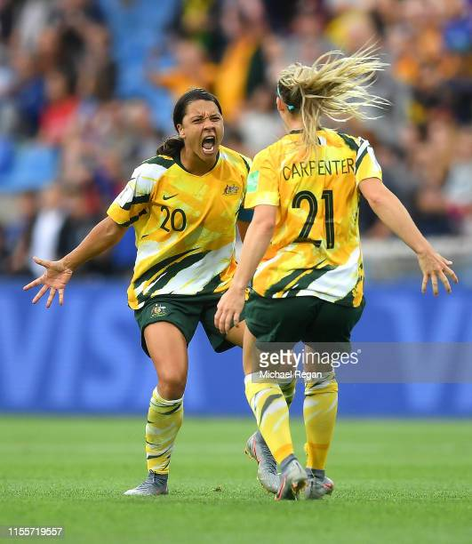 Sam Kerr and Ellie Carpenter of Australia celebrate following their sides victory in the 2019 FIFA Women's World Cup France group C match between...