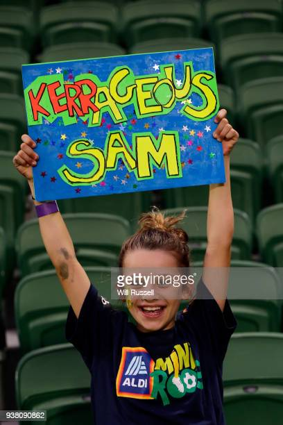 Sam Kerr fan shows her support during the International Friendly Match between the Australian Matildas and Thailand at NIB Stadium on March 26 2018...
