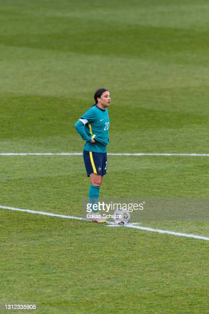 Sam Kerr lof Australiaooks disappointed during the International Friendly between Netherlands and Australia at Stadion de Goffert on April 13, 2021...