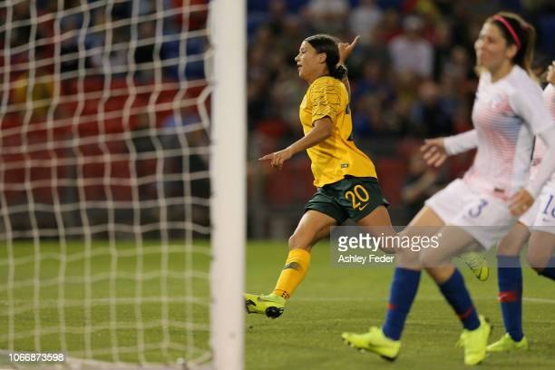 Sam Kerr of Austraila celebrates her goal during the International Women's Friendly match between the Australian Matildas and Chile at McDonald Jones...