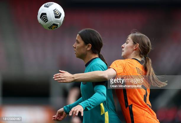 Sam Kerr of Australia battles for possession with Aniek Nouwen of Netherlands during the International Friendly match between Netherlands Women and...