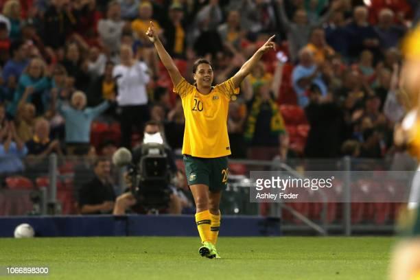 Sam Kerr of Australia celebrates a goal during the International Women's Friendly match between the Australian Matildas and Chile at McDonald Jones...