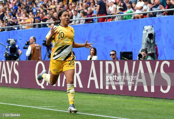 Sam Kerr of Australia celebrates after scoring her team's first goal during the 2019 FIFA Women's World Cup France group C match between Australia...