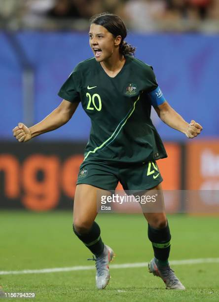 Sam Kerr of Australia celebrates after scoring her team's fourth goal during the 2019 FIFA Women's World Cup France group C match between Jamaica and...