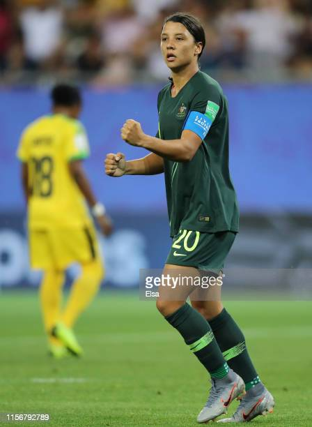 Sam Kerr of Australia celebrates after scoring her team's third goal during the 2019 FIFA Women's World Cup France group C match between Jamaica and...