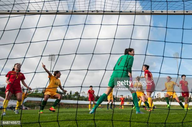 Sam Kerr of Australia celebrates after scoring the second goal during the Women's Algarve Cup Tournament match between China and Australia at...