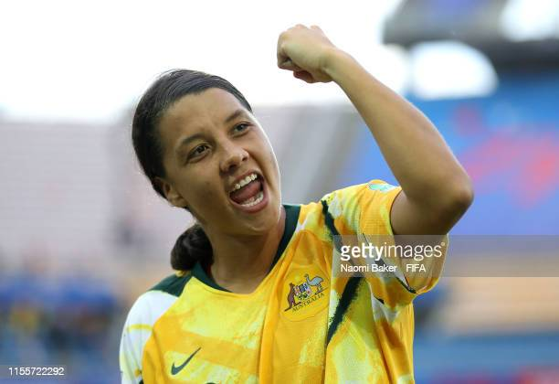 Sam Kerr of Australia celebrates following her sides victory in the 2019 FIFA Women's World Cup France group C match between Australia and Brazil at...