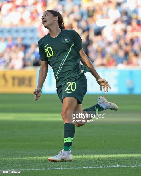 Sam Kerr of Australia celebrates her goal against Japan during the 2018 Tournament Of Nations at Toyota Park on August 2 2018 in Bridgeview Illinois...