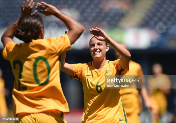 Sam Kerr of Australia celebrates with Chloe Logarzo of Australia after scoring their second goal of the game in the first half during the Tournament...