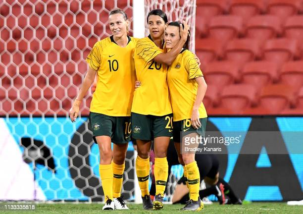 Sam Kerr of Australia celebrates with team mates after scoring a goal during the 2019 Cup of Nations match between Australia and the Korea Republic...