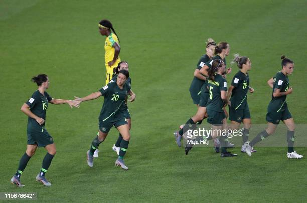 Sam Kerr of Australia celebrates with teammates after scoring her team's second goal during the 2019 FIFA Women's World Cup France group C match...