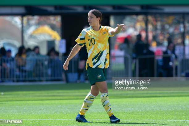 Sam Kerr of Australia during the International friendly match between the Australian Matildas and Chile at Bankwest Stadium on November 9 2019 in...