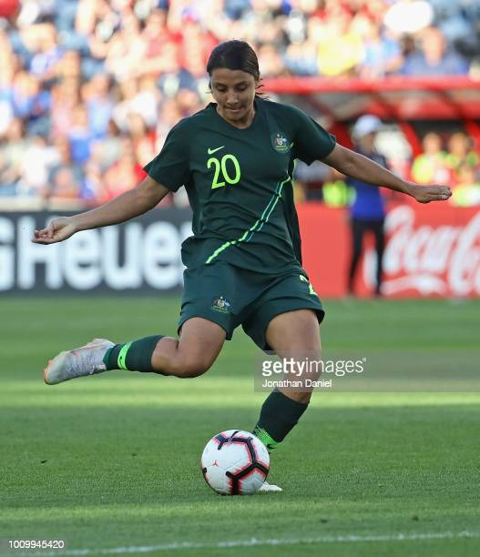 Sam Kerr of Australia fires a shot to score a goal against Japan during the 2018 Tournament Of Nations at Toyota Park on August 2 2018 in Bridgeview...