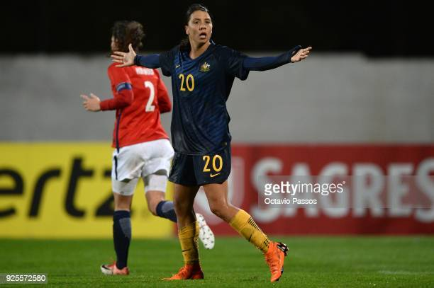 Sam Kerr of Australia in action during the Women's Algarve Cup Tournament match between Norway and Australia at Municipal Albufeira on February 28...