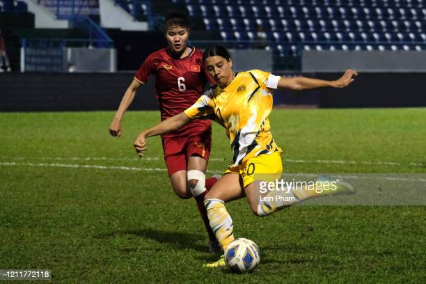 Sam Kerr of Australia in action during the Women's Olympic Football Tournament PlayOff 2nd Leg between Vietnam and Australian Matildas at Cam Pha...
