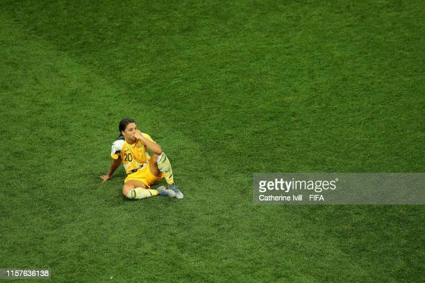 Sam Kerr of Australia looks dejected after losing the penalty shoot out during the 2019 FIFA Women's World Cup France Round Of 16 match between...