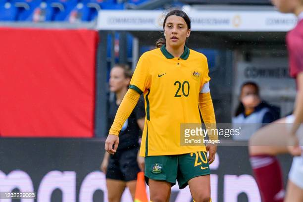 Sam Kerr of Australia looks on during the Women's International Friendly match between Germany and Australia at BRITA-Arena on April 10, 2021 in...