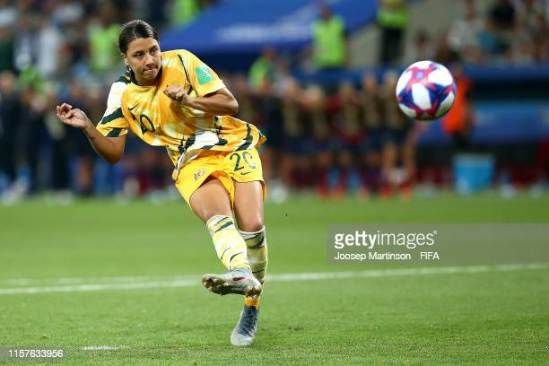 Sam Kerr of Australia misses her team's first penalty in the penalty shoot out during the 2019 FIFA Women's World Cup France Round Of 16 match...