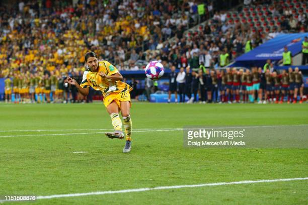 Sam Kerr of Australia misses with her penalty in the shootout during the 2019 FIFA Women's World Cup France Round of 16 match between Norway and...