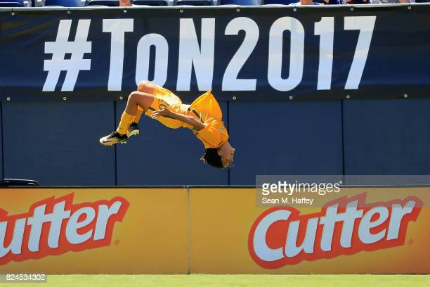 Sam Kerr of Australia reacts to scoring a goal against Japan during the first half of a match in the 2017 Tournament of Nations at Qualcomm Stadium...