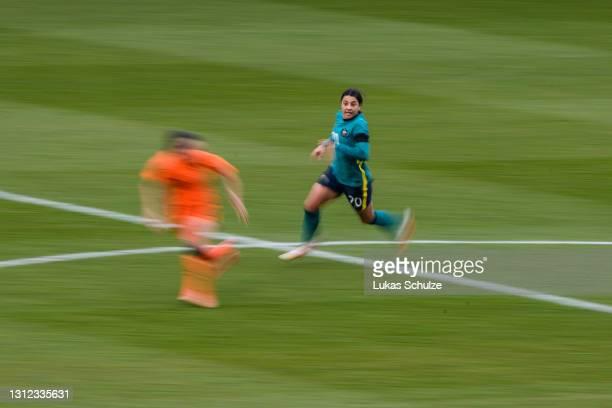 Sam Kerr of Australia runs during the International Friendly between Netherlands and Australia at Stadion de Goffert on April 13, 2021 in Nijmegen,...