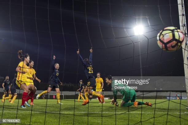 Sam Kerr of Australia scores a goal during the Women's Algarve Cup Tournament match between Australia and China at Estadio Municipal de Albufeira on...