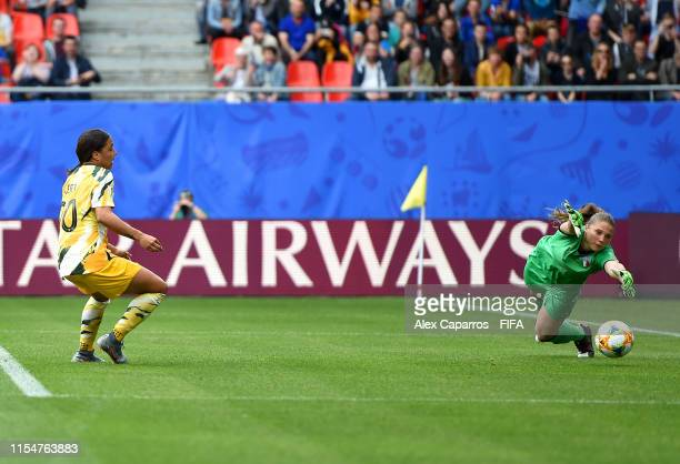 Sam Kerr of Australia scores her team's first goal during the 2019 FIFA Women's World Cup France group C match between Australia and Italy at Stade...