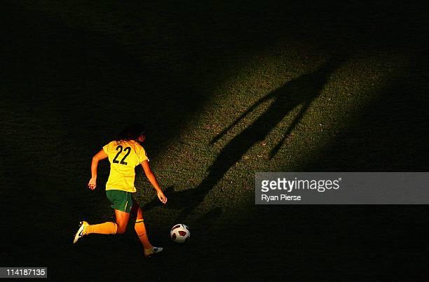 Sam Kerr of Australia shoots at goal during the International friendly match betweeen the Australian Matildas and the New Zealand Football Ferns at...
