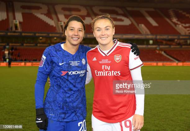 Sam Kerr of Chelsea and fellow Australian Caitlin Foord of Arsenal pose for a photograph following the FA Women's Continental League Cup Final...