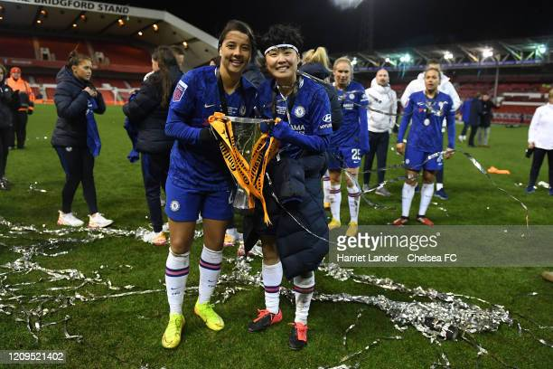 Sam Kerr of Chelsea and Ji SoYun of Chelsea with the cup during the FA Women's Continental League Cup Final Chelsea FC Women and Arsenal FC Women at...
