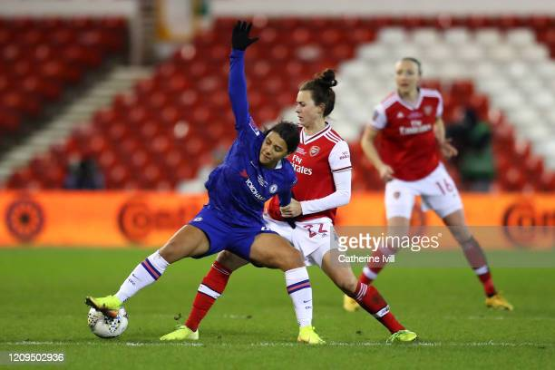 Sam Kerr of Chelsea battles for possession with Viktoria Schnaderbeck of Arsenal during the FA Women's Continental League Cup Final Chelsea FC Women...