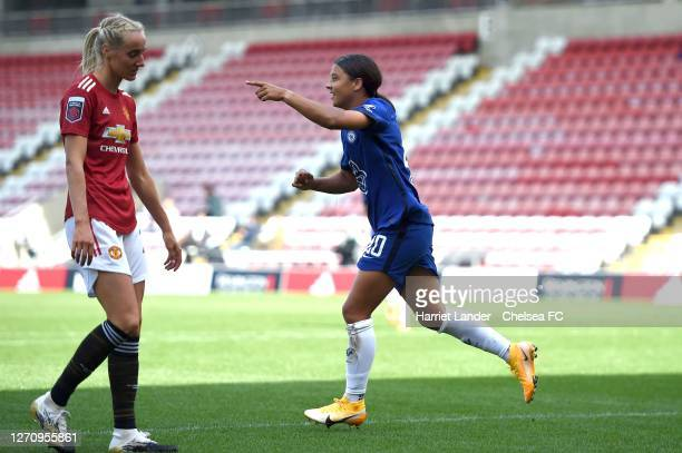 Sam Kerr of Chelsea celebrates after scoring her team's first goal during the Barclays FA Women's Super League match between Manchester United Women...