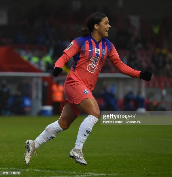 Sam Kerr of Chelsea celebrates after scoring her team's first goal during the Barclays FA Women's Super League match between Brighton & Hove Albion...