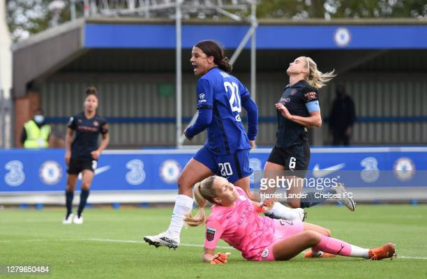 Sam Kerr of Chelsea celebrates after scoring her team's second goal during the Barclays FA Women's Super League match between Chelsea Women and...