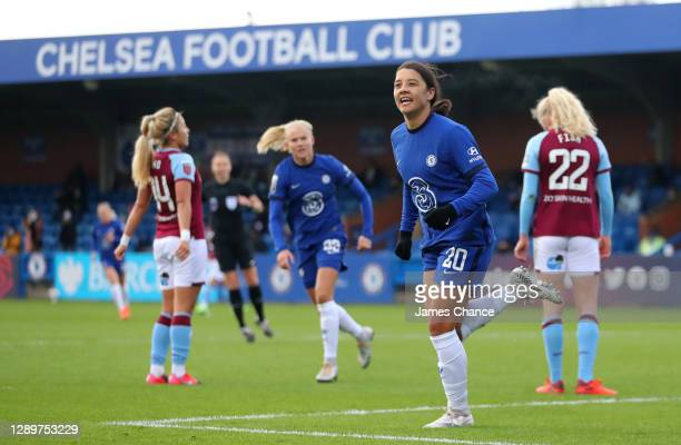 Sam Kerr of Chelsea celebrates after scoring their sides first goal during the Barclays FA Women's Super League match between Chelsea Women and West...